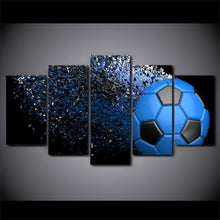 Canvas - Blue Soccer Flying 5 Piece Canvas