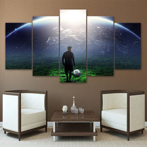Canvas - Earth Soccer Match 5 Pieces Canvas