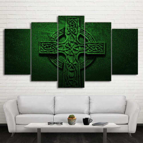 Canvas - Green Cross Jesus 5 Pieces Canvas