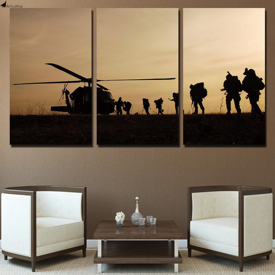 Canvas - Helicopter Army Shadows 5 Pieces Canvas