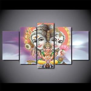Canvas - Hindu Lord Shiva 5 Pieces Canvas