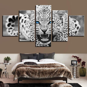 Canvas - Leopard Blue Eyes 5 Pieces Canvas