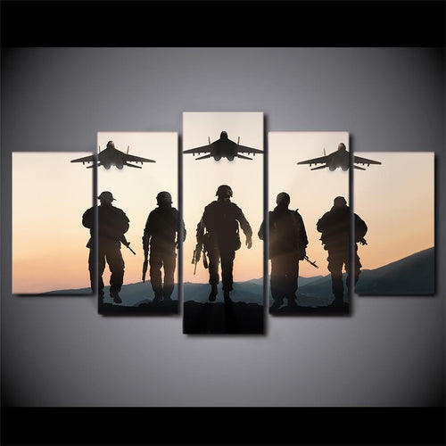 Canvas - Sunset American Soldier 5 Pieces Canvas