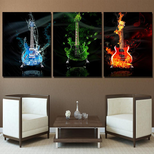 Canvas - Triple Guitar 3 Pieces Canvas