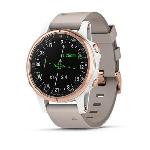 Garmin D2 Delta S Aviator Watch with Beige Leather Band (42MM Case)