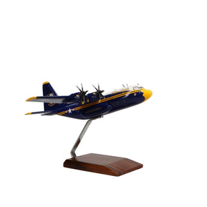 Aircraft Models - Lockheed C-130J New Fat Albert Airlines U.S. Navy Blue Angels Limited Edition Large Mahogany Model