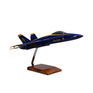 Aircraft Models - McDonnell Douglas F/A-18A Hornet Blue Angels Limited Edition Large Mahogany Model
