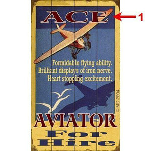 Artwork & Prints - Ace Aviator For Hire Personalized Wood Sign 18x30