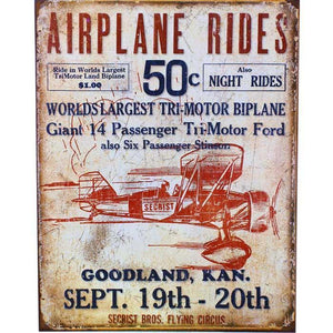 Artwork & Prints - Airplane Rides Tin Sign