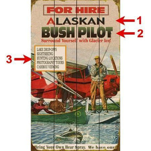 Artwork & Prints - Alaska Bush Pilot For Hire Personalized Wood Sign 18x30