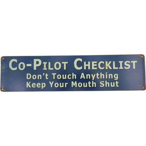 Artwork & Prints - Co-Pilot Checklist Metal Sign