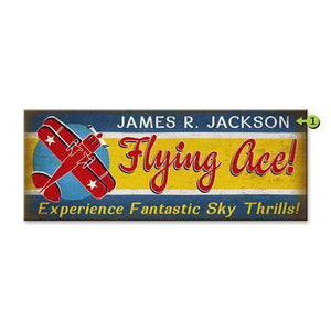 Artwork & Prints - Flying Ace Personalized Wood Sign 17x44