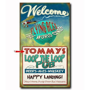 Artwork & Prints - Flying Aces Loop The Loop Pub Personalized Wood Sign 18x30