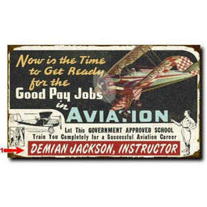 Artwork & Prints - Good Aviation Jobs Personalized Wood  Sign 18x30