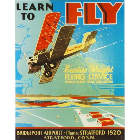 Artwork & Prints - Learn To Fly Tin Sign