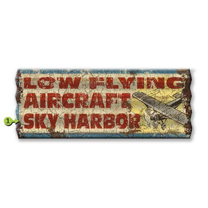 Artwork & Prints - Low Flying Aircraft Personalized Corrugated Sign 17x44