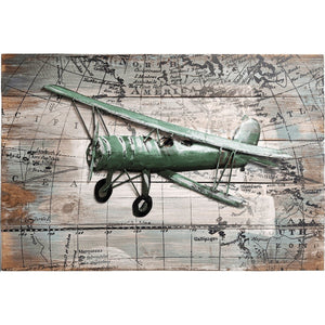 Artwork & Prints - Pilot Toys Bygone Biplane Mixed Media Art - Green