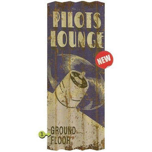 Artwork & Prints - Pilots Lounge Personalized Corrugated Sign 17x44