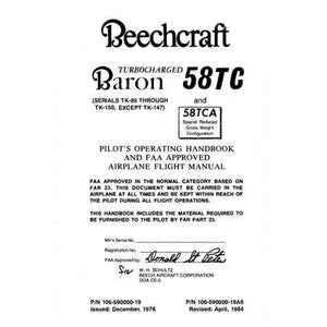Beech Baron - Beech 58TC & 58TCA Pilot's Operating Handbook (part# 106-590000-19)