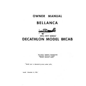 Bellanca - Bellanca 8KCAB Decathlon 1975-77 Owner's Manual (part# BE8KCB75-77-O)
