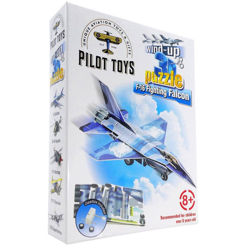 Board Games & Puzzles - Pilot Toys F-16 Fighting Falcon Wind-Up 3D Puzzle