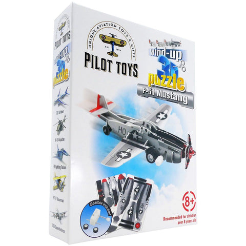 Board Games & Puzzles - Pilot Toys P-51 Mustang Wind-Up 3D Puzzle