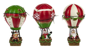 Christmas - Light Up Hot Air Balloon Figurines (Set Of 3)