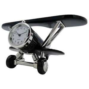 Clocks & Thermometers - Pilot Toys Black Biplane Desk Clock