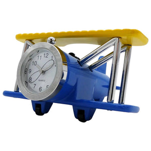 Clocks & Thermometers - Pilot Toys Blue And Yellow Biplane Desk Clock