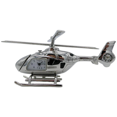 Clocks & Thermometers - Pilot Toys Silver Helicopter Desk Clock
