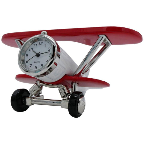 Clocks & Thermometers - Pilot Toys White And Red Biplane Desk Clock