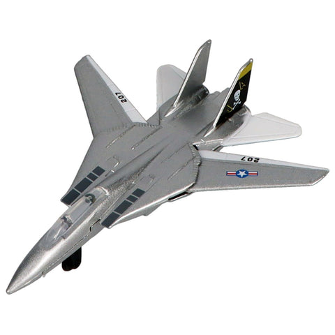 Die Cast Planes - Hot Wings F-14 Tomcat (Jolly Rogers Air Wing 8) Die Cast Aircraft With Connectible Runway