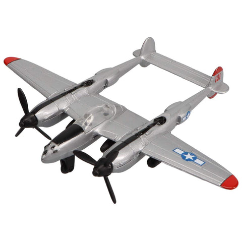 Die Cast Planes - Hot Wings P-38 Lightning Die Cast Aircraft With Connectible Runway
