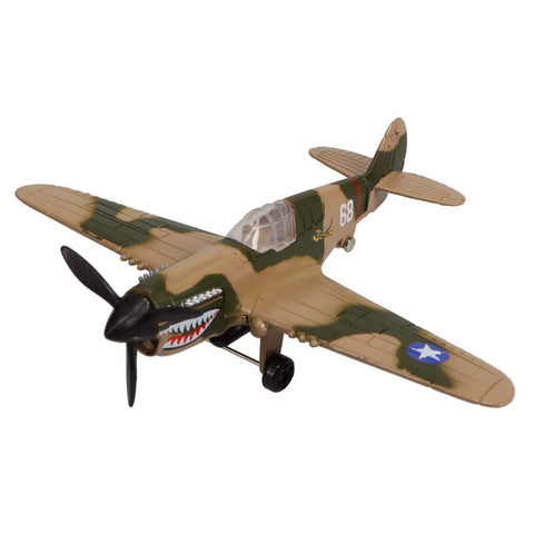 Die Cast Planes - Hot Wings P-40 Die Cast Aircraft With Connectible Runway