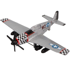 Die Cast Planes - Hot Wings P-51  Mustang Die Cast Aircraft With Connectible Runway