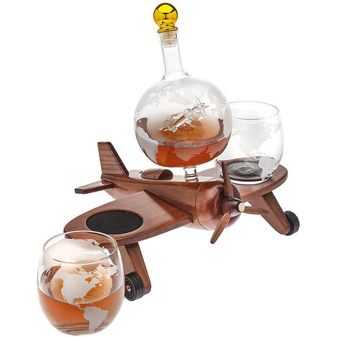 Kitchen & Barware - Airplane Decanter Set With 2 Glasses