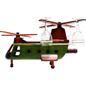Kitchen & Barware - Pilot Toys Chinook Wood Helicopter Wine Glass And Bottle Holder