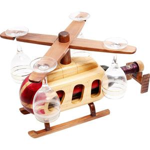 Kitchen & Barware - Pilot Toys Helicopter Wood Wine Glass & Bottle Holder