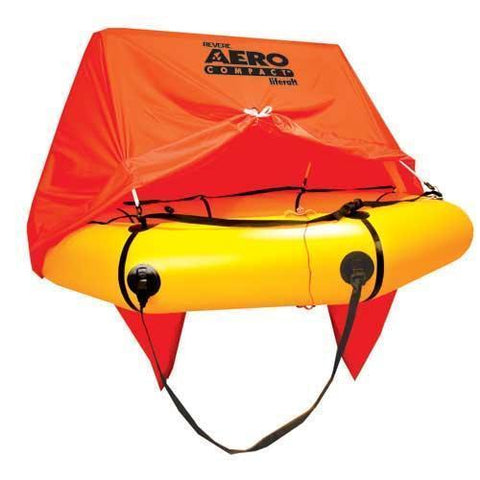 Life Vests & Life Rafts - Revere Supply Aero Compact Liferaft For Aviation 4 Person With Canopy