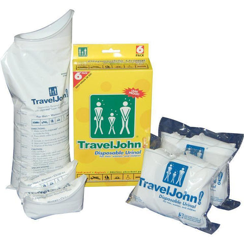 Motion Sickness & Relief - TravelJohn Disposable Urine Bags (6 Pack)