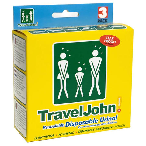 Motion Sickness & Relief - TravelJohn Resealable Disposable Urinal Bags (3 Pack)