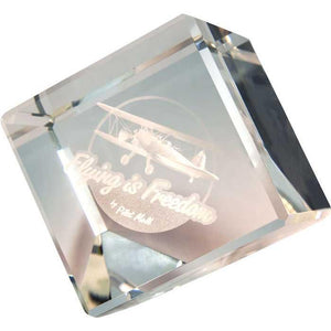 Office - Flying Is Freedom Crystal Logo Cube