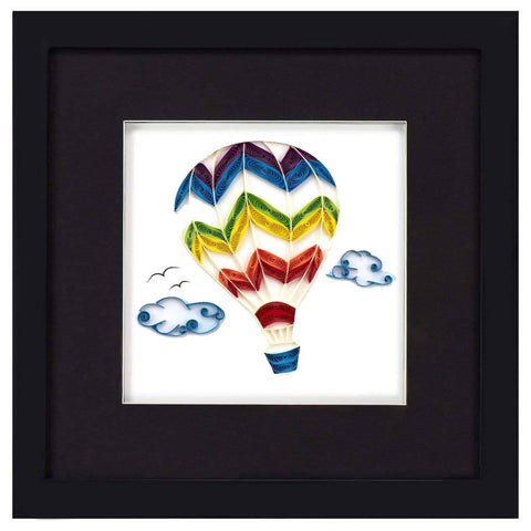 Office - Quilled Hot Air Balloon Framed Shadow Box