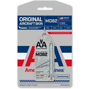Pins Patches Lanyards Keychains - American Airlines MD82 (N922TW) Aviation Tag