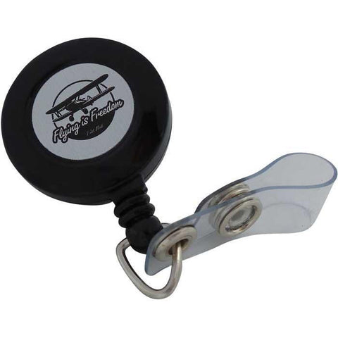 Pins Patches Lanyards Keychains - Flying Is Freedom Retractable Badge Holder