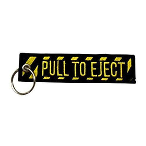 "Pins Patches Lanyards Keychains - Pilot Toys Pull To Eject Embroidered 5"" Embroidered Keychain"