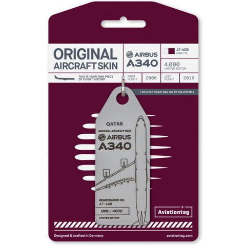 Pins Patches Lanyards Keychains - Qatar Airways Airbus A340 (A7-AGB) Aviation Tag