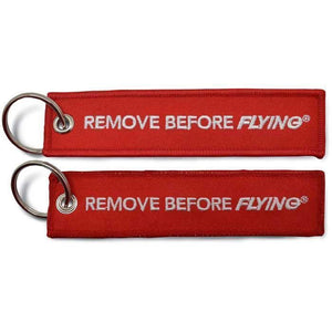 "Pins Patches Lanyards Keychains - Remove Before Flying 5"" Embroidered Keychain"