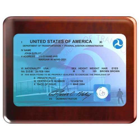 Plaques - Modern FAA License Plaque (Rosewood)