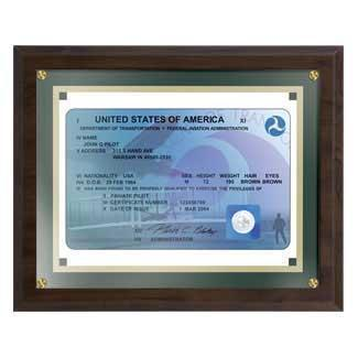 Plaques - Wright Brothers FAA License Plaque - Framed Parchment